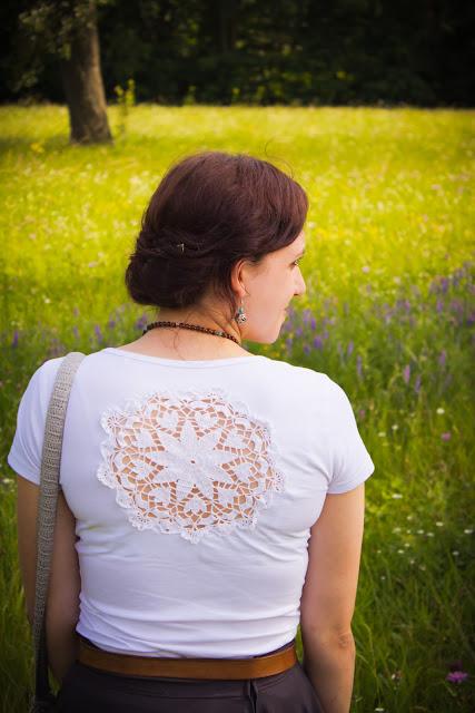 diy crochet lace doily top t-shirt mit spitzendeckchen