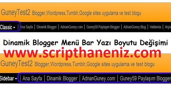Blogger Yazı Boyutunu Düzenlenme Eklentisi