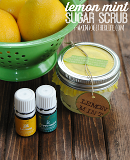 Lemon Mint Sugar Scrub - 25 Essential Oil DIYs RoundUp