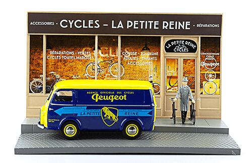 les plus beaux véhicules utilitaires, peugeot d3a 1:43 marchand de vélo