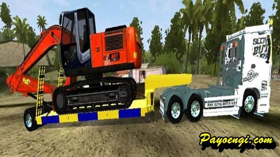 mod bussid truck hino 500 dolly trailer muatan excavator