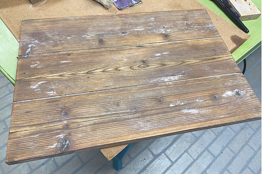 Sanded reclaimed wooden board