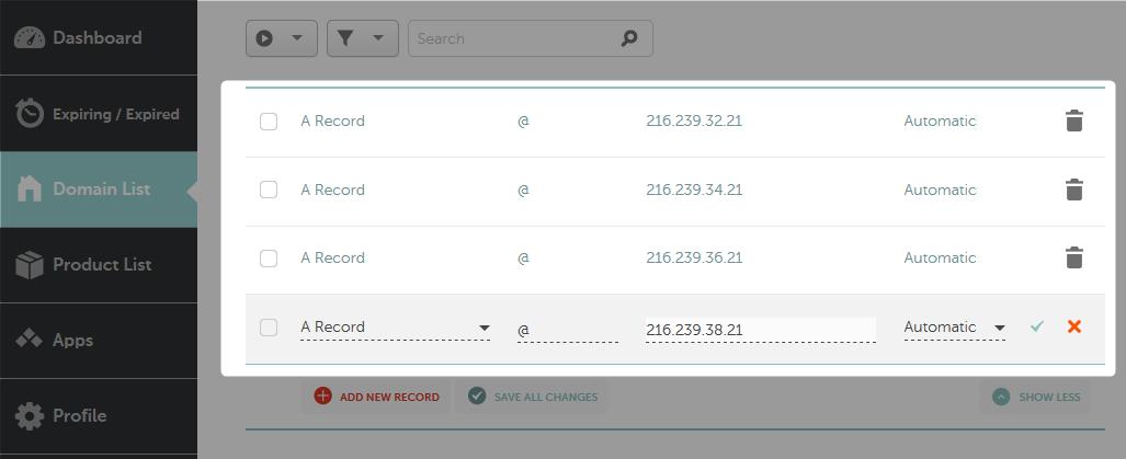 Adding A-Records for Blogger