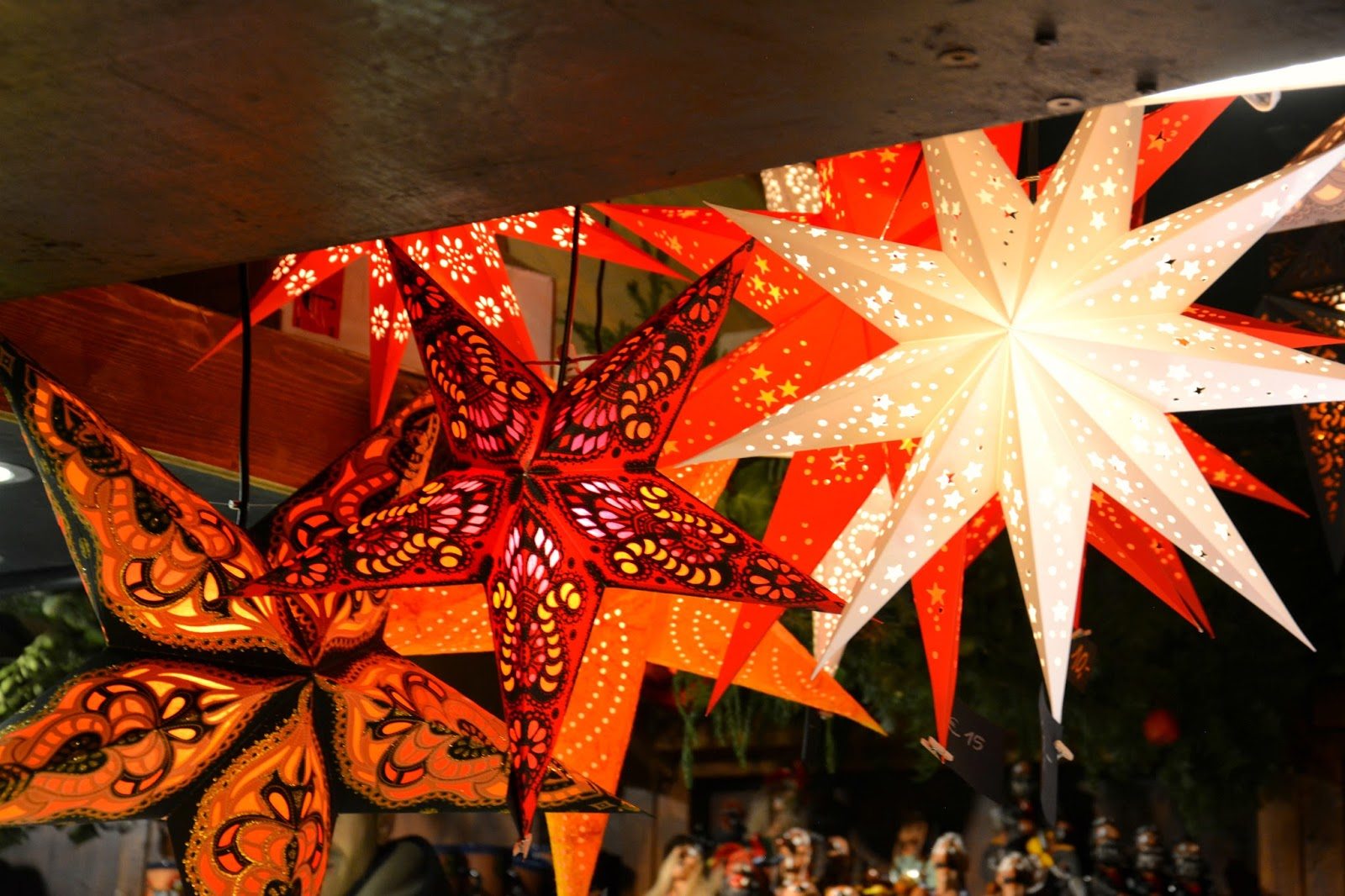 Handmade star lights on display