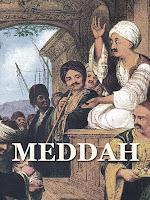 Osmanlı zamanında eski bir meddah gösterisini gösteren eski bir resim