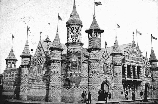 Corn Palace at the 1908 Louis & Clark Expo in Portland Oregon, decorated with corn, a photograph