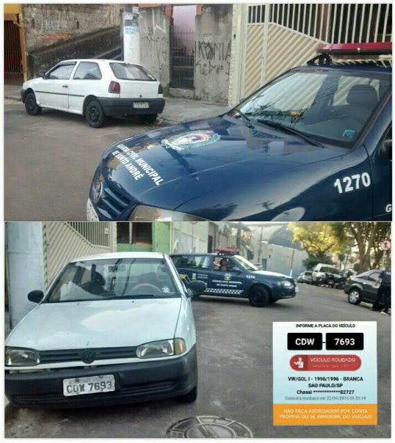 Guarda Civis de Santo André da ronda setorial da 1º Inspetoria localizam veículo produto de roubo na Vila Palmares