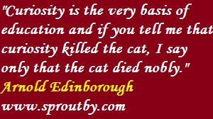 #Curiosity is the very basis of education and if you tell me that curiosity killed the cat, I say only that the cat died nobly #ArnoldEdinborough #curiosityquotes #educationquotations