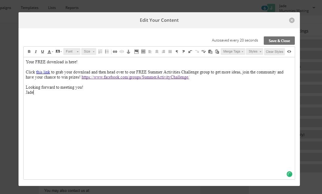 Mail Chimp Link Code