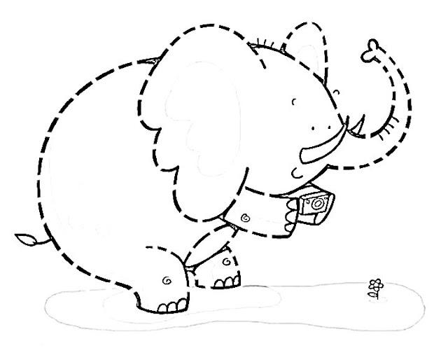 belajar menggambar dan mewarnai binatang hitam putih gajah lucu