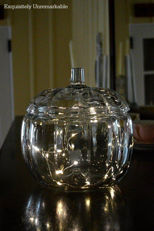 Lit Glass Pumpkin