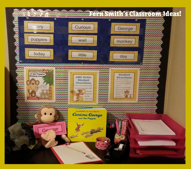 Fern Smith's Classroom Ideas Curious George and the Puppies Writing Center at TeachespayTeachers
