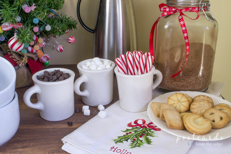 Hot cocoa bar! Lots of ideas for making the house cozy for the holidays.