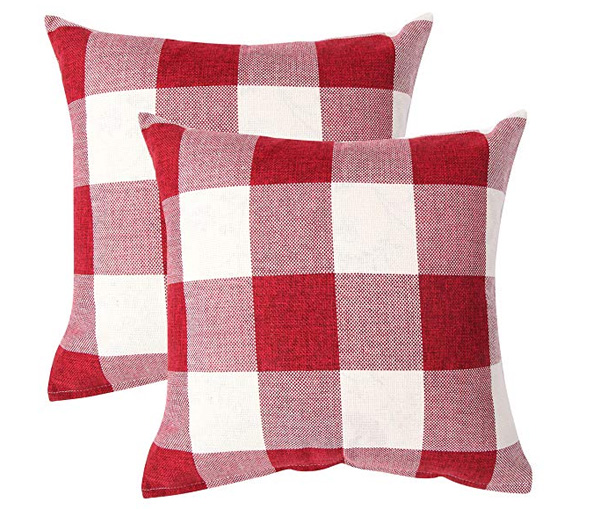 Red and White Buffalo Check Pillows