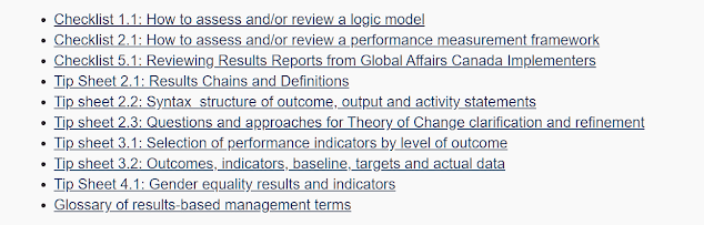 Links to 10 GAC RBM tip sheets and checklists  about logic models,  gender indicators, RBM syntax, constructing a theory of change etc.