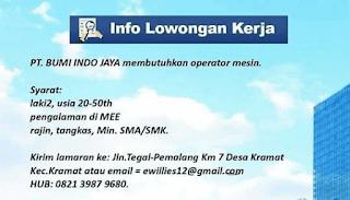 Lowongan Kerja PT. Bumi Indo Jaya Tegal