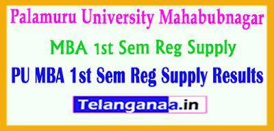 PU Palamuru University MBA 1st Sem Reg Supply Results