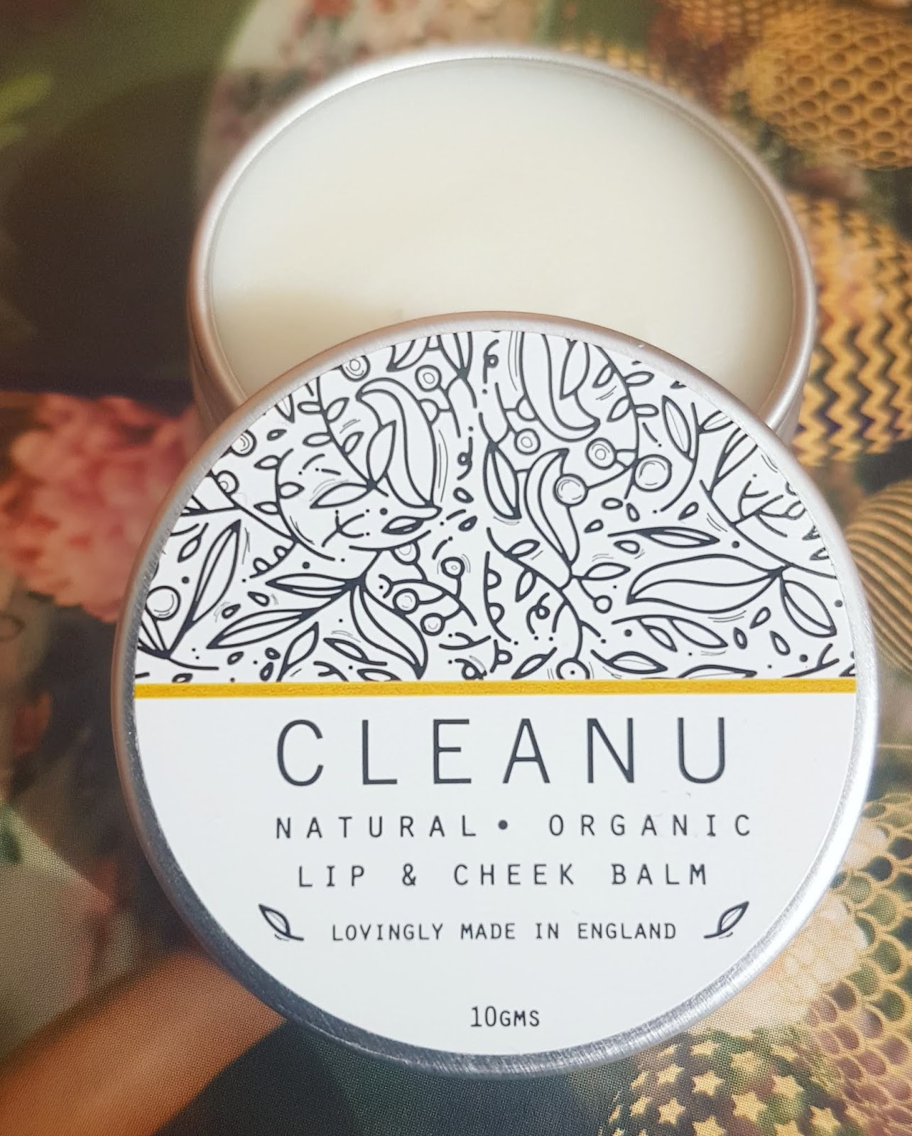 open tin of Clean U Skincare Lip + Cheek Balm