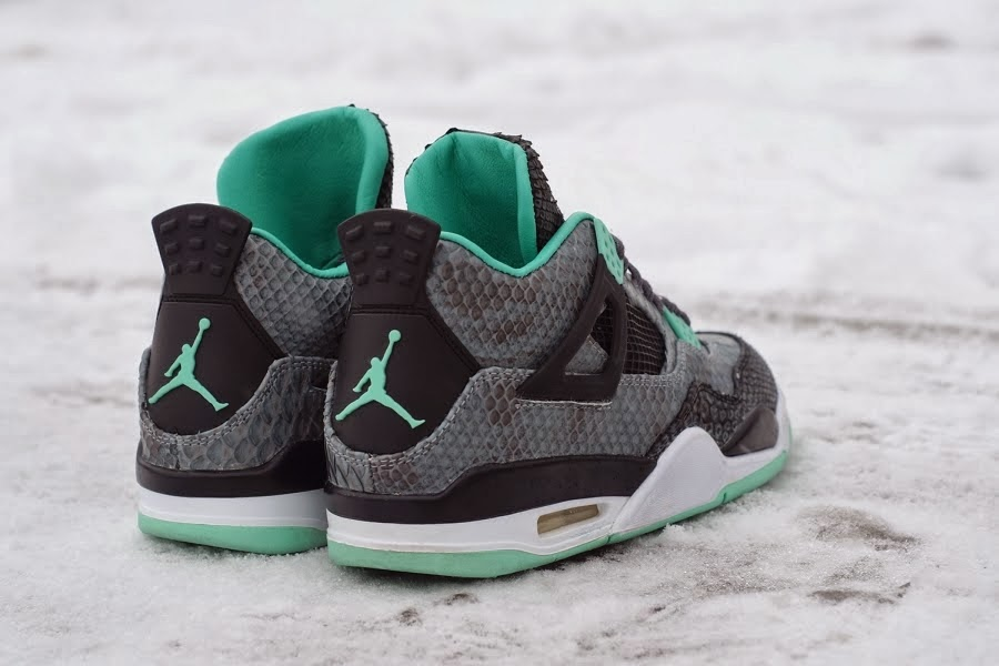 "new styles 66904 04e3f KIX & LIDZ: Air Jordan 4 ""Green Glow Python"" by JBF Customs"