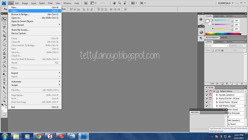 Membuka image di photoshop cs4