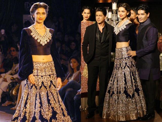 Deepika Padukone Dark Blue Moss Velvet Designer Lehenga Choli