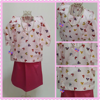Baju Kurung Johor Kanak-kanak English Cotton Pink Mickey with Fuchsia Pink Pin Polka Dot Skirt