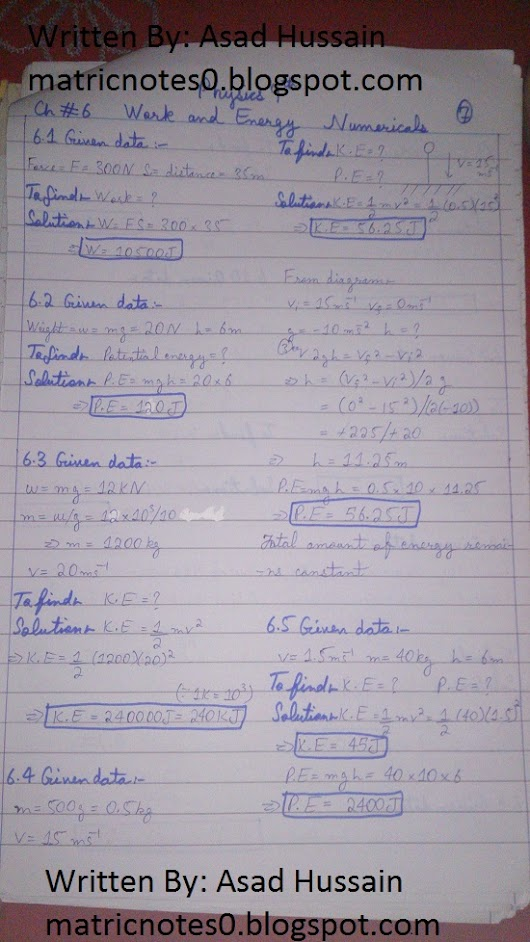 Matric 9th Physics Notes Chapter 6 Numerical