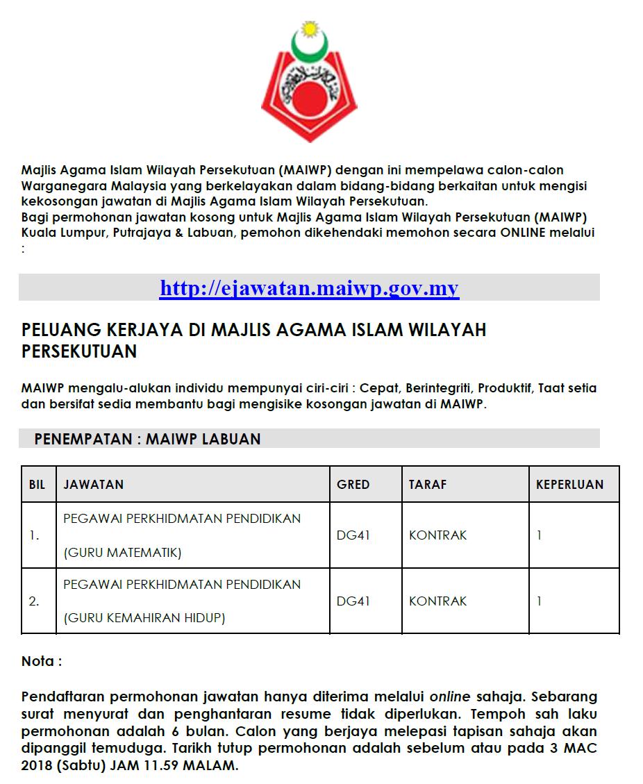 Jawatan Kosong Di Majlis Agama Islam Wilayah Persekutuan Maiwp Pegawai Perkhidmatan Dg41 Guru Jobcari Com Jawatan Kosong Terkini