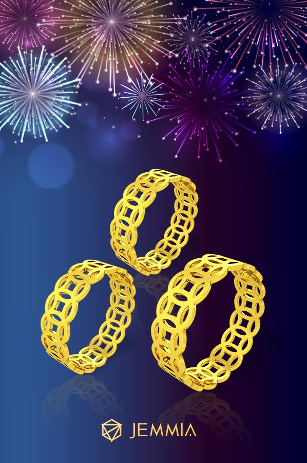 Nhẫn kim tiền vàng 24k 1 chỉ