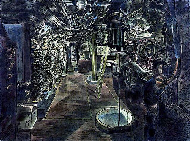 a Barnett Freedman illustration inside a 1943 submarine