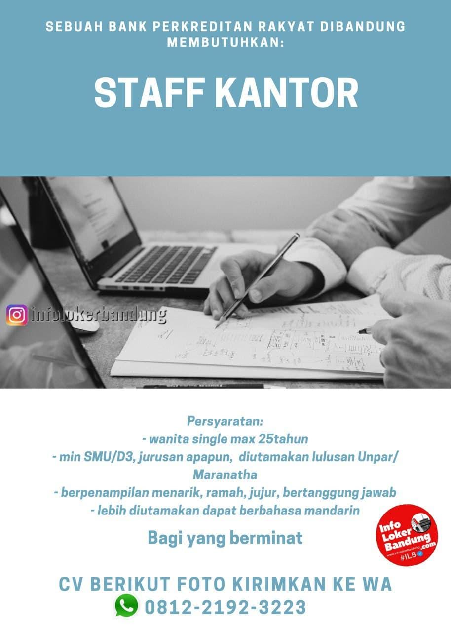 Lowongan Kerja Staff Kantor Bank Perkreditan Rakyat Bandung Januari 2021