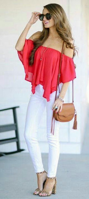 Off shoulder red top with white paint