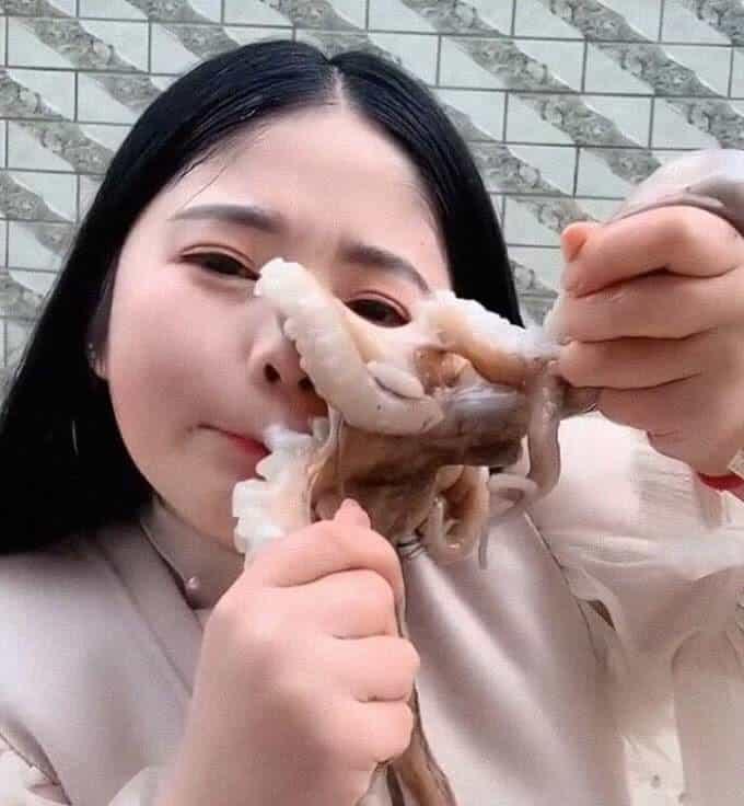 فتاة صينية حاولت أكل الأخطبوط حيا, أخطبوط هاجم فتاة حاولت أكله حيا,اخطبوط يهاجم فتاة,أخطبوط يهاجم شابة صينية على الهواء