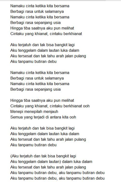 Lirik Lagu Butiran Debu Rumor Not Lagu Nasioanl Lengkap