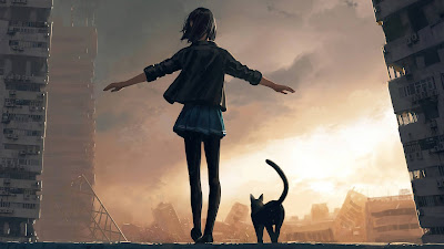 Wallpaper girl walking with cat HD