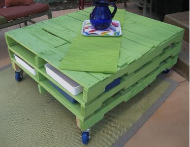 A mi manera c mo hacer una mesa con tarimas de madera - Como hacer una tarima para mesa camilla ...