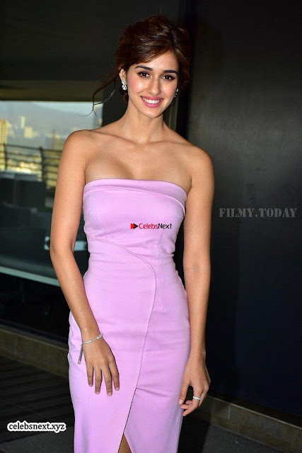 Disha Patani in stunning Pink Gown with Tiger Shroff baaghi 2 promotions at nadiadwala office 001.jpg