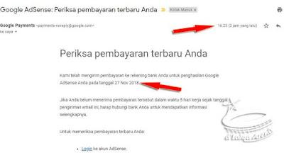 email tentang pembayaran dari Google