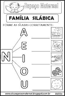 Família silábica alfabetização letra N