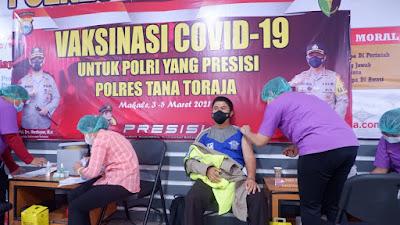 284 Personil Polres Tana Toraja Dijadwalkan akan Melakukan Vaksinasi Covid-19