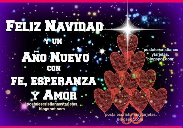 tarjeta con arbol de navidad y corazones, feliz año