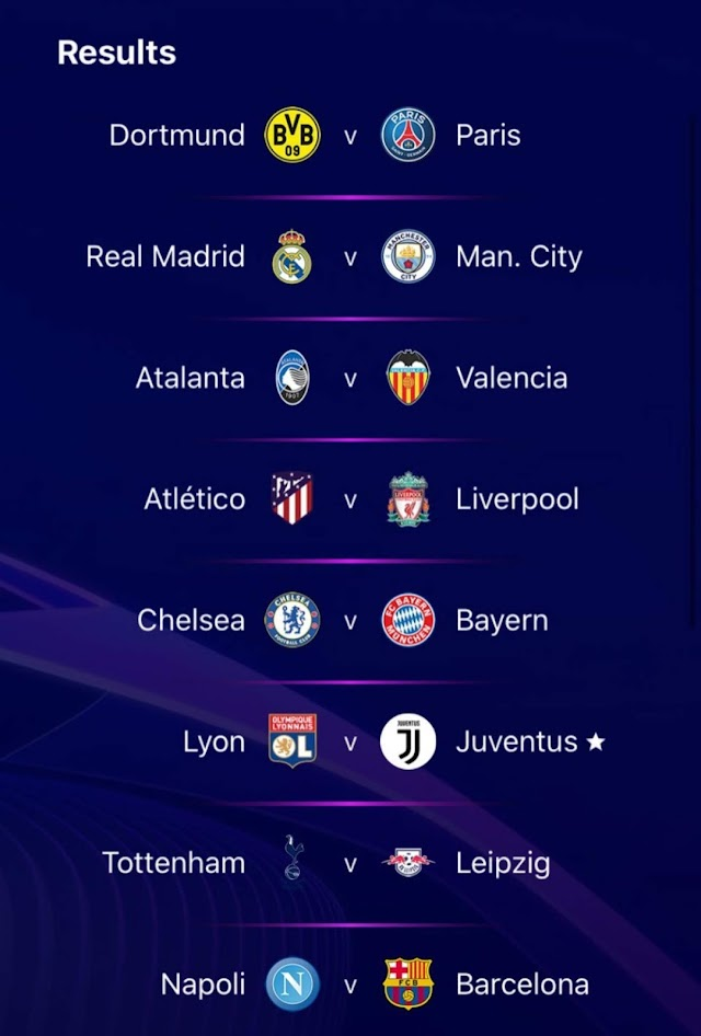 Full results of Champions League last 16 draw have been confirmed.