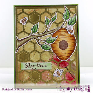 Stamp/Die Duos: Bee-Lieve, Custom Dies: A2 Portrait Card Base with Layer, Matting Rectangle, Quilted Honeycomb Background, Paper Collection: Beautiful Blooms