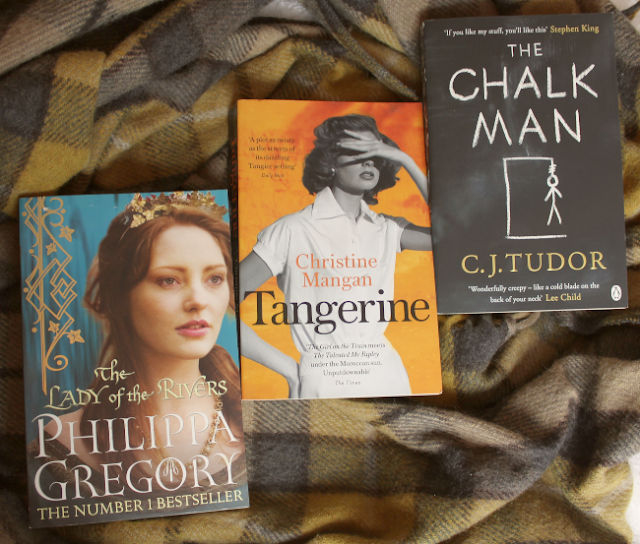 Three book covers in a row: 'The Lady of the Rivers', 'Tangerine' and 'The Chalk Man'