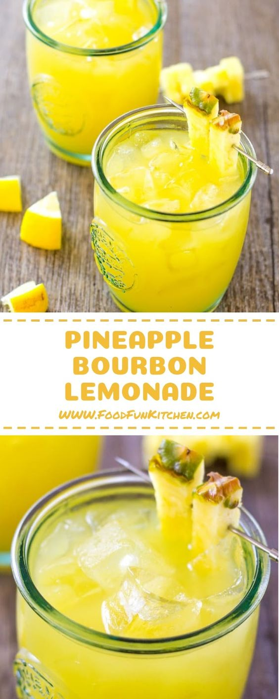Pineapple Bourbon Lemonade – 3 ingredient Tropical Cocktail - My Like&Share