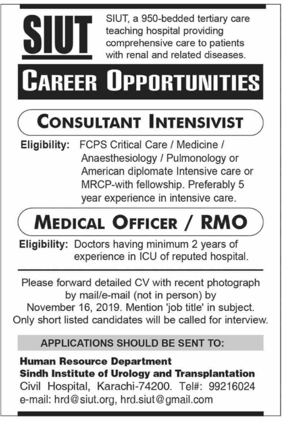 Sindh Institute of Urology and Transplantation SIUT Medical Posts Karachi 2019