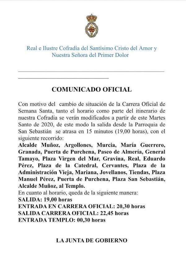 La Cofradía del Amor, realizará el próximo Martes Santo un nuevo recorrido debido al cambio de la Carrera Oficial en Almería