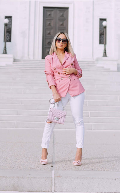pink blazer, pink pumps , pink bag