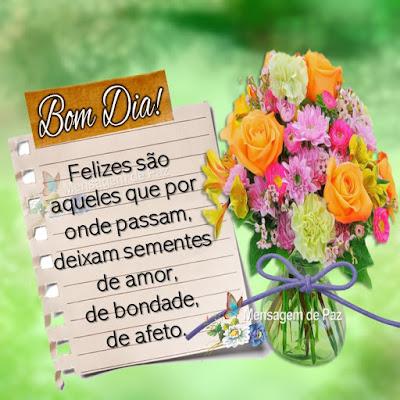Felizes são aqueles que por onde passam,  deixam sementes de amor, de bondade, de afeto. Bom Dia!