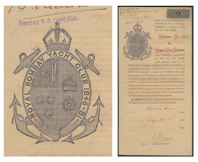 Royal Bombay Yacht Club debenture with company seal
